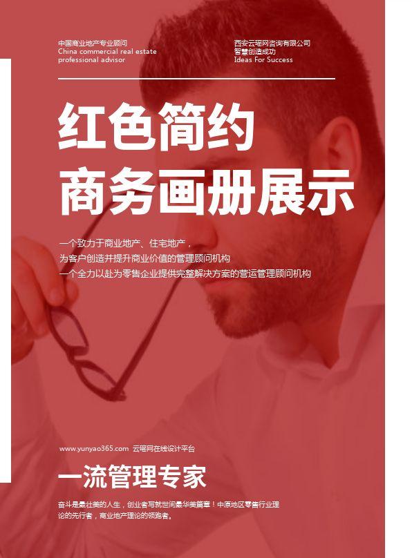 红色简约商务画册设计效果图产品册